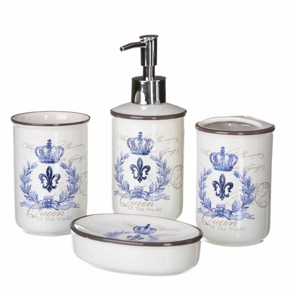 Accesorios de baño provenzales azules de cerámica para cuarto de baño France