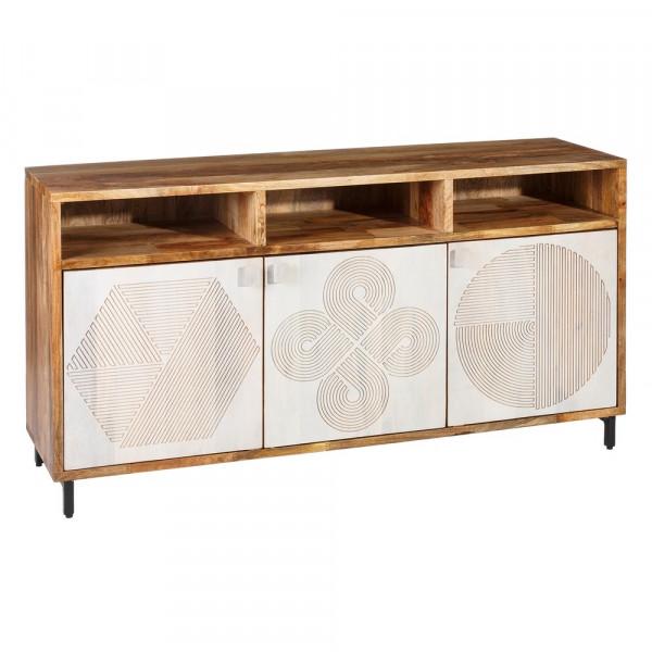 ec2b4e3ce Aparador tallado de madera natural blanco moderno para salón Vitta -  Principal