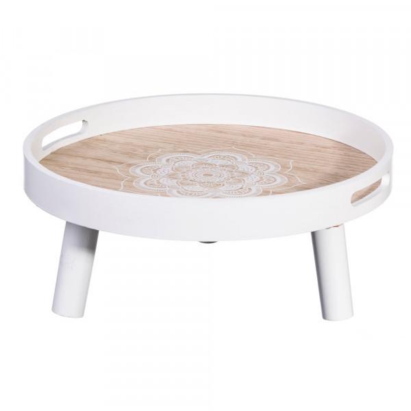 Bandeja mesa de madera blanca oriental para cocina Vitta