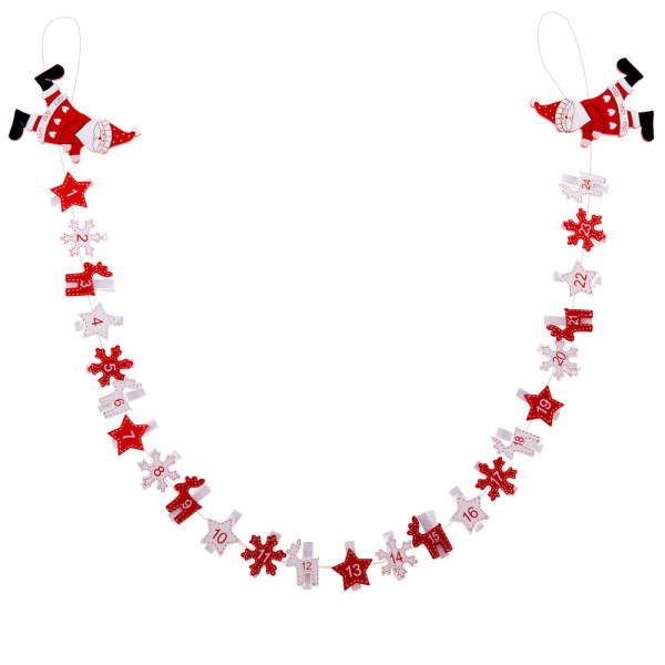 Calendario Adviento Infantil.Calendario De Adviento Infantil Rojo De Madera Para Decoracion Navidena Christmas