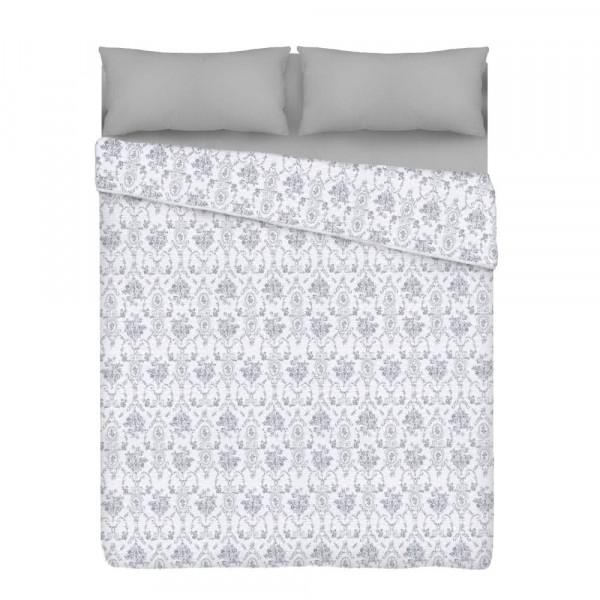 Edredón cubrecama clásico gris de poliéster para cama de 90 cm