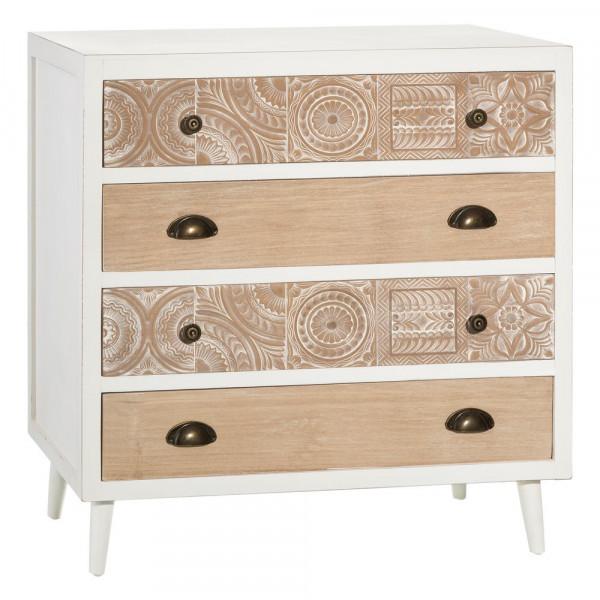 b31a6b19c8d Cómoda blanca de madera tallada vintage para dormitorio Vitta - Principal