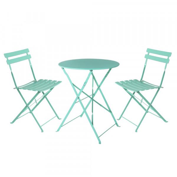 bbaf7c12 Conjunto de mesa y sillas de acero verde de exterior para terraza Garden -  Principal