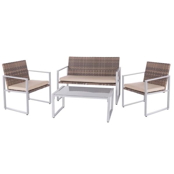 Conjunto De Muebles Para Terraza Marrón De Hierro Garden