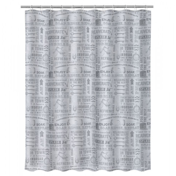 Cortina de ducha vintage gris de microfibra para cuarto de baño de 180x200  cm Factory