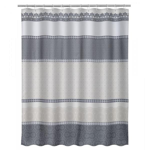 Cortina de ducha clásica gris de microfibra para cuarto de baño de 180x200  cm Arabia