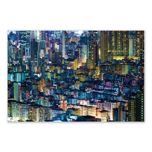 Cuadro lienzo de ciudad azul moderno para comedor de 120 x 80 cm Iris