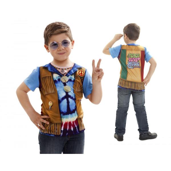 5d38e17e1 Disfraz camiseta de Hippie original de Carnaval para niño de 8-10 años de  microfibra