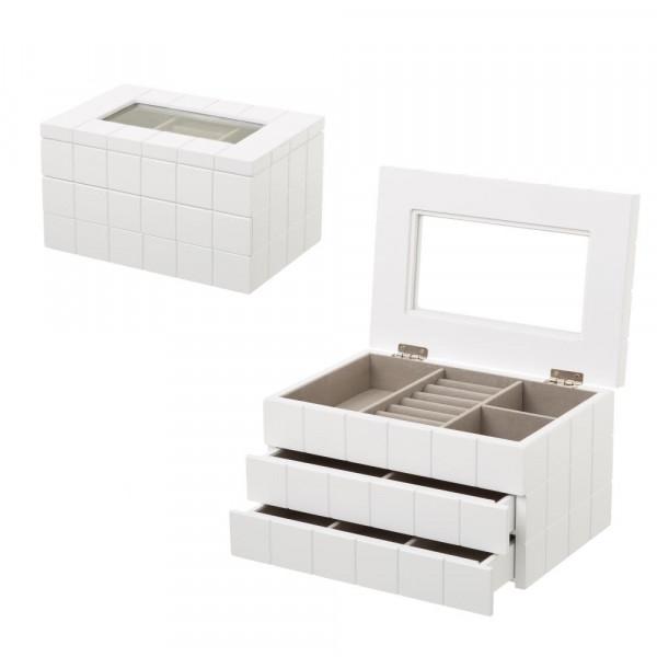 feb3d5d8bcd8 Joyero de madera con 2 cajones blanco moderno para dormitorio Fantasy -  Principal