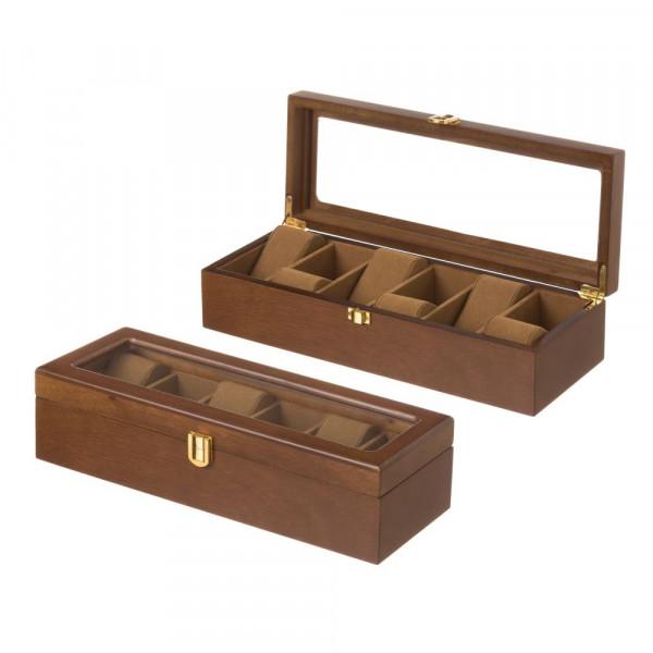 f4d9af1f74c9 Joyero para relojes de madera marrón clásico para dormitorio Bretaña -  Principal