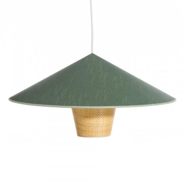 Con Lámpara Ø Colgante De Exótica Rattan Verde Cm Techo Pantalla 50 Jc5l3uFKT1