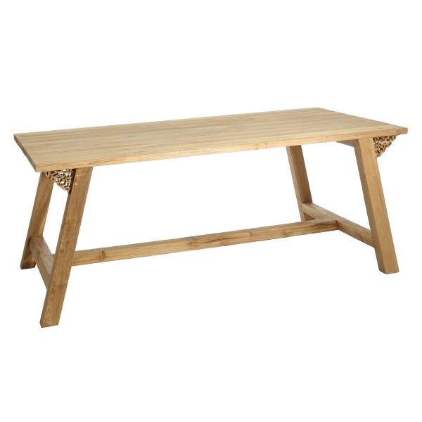 Mesa de comedor o salón rústica beige de madera Sol Naciente