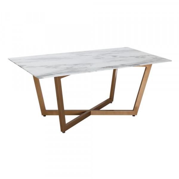 Mesa de comedor de cristal blanca moderna para salón France