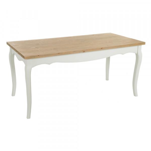 Mesa comedor de madera clásica blanca de 160x80x76 cm