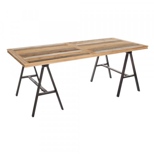 Mesa de comedor de madera marrón rústica para salón Factory