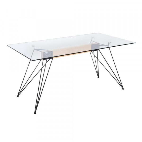 Mesa de comedor de cristal transparente minimalista para salón Fantasy