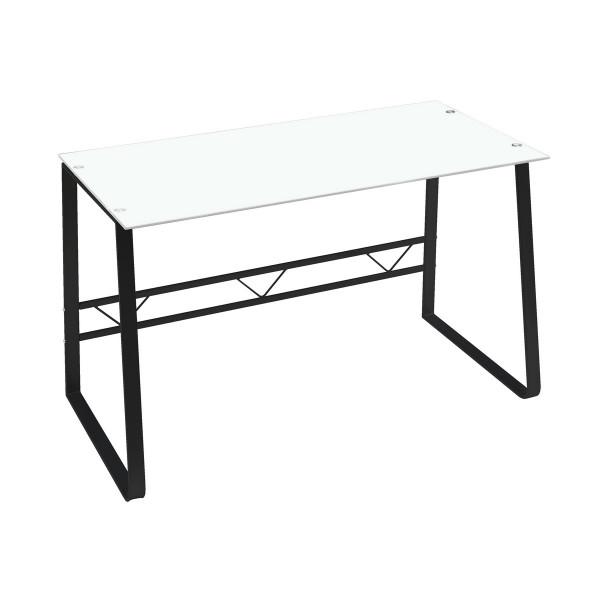 Mesa escritorio de cristal blanca industrial para oficina Vitta