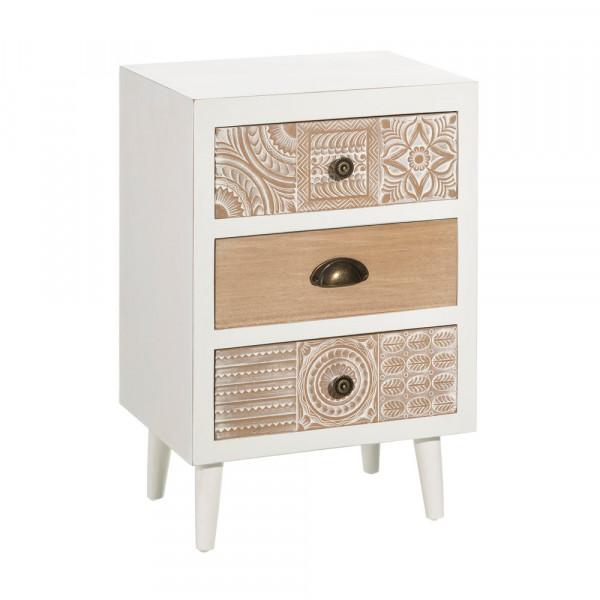 b6e9488e307 Mesilla de noche blanca de madera tallada vintage para dormitorio Vitta -  Principal