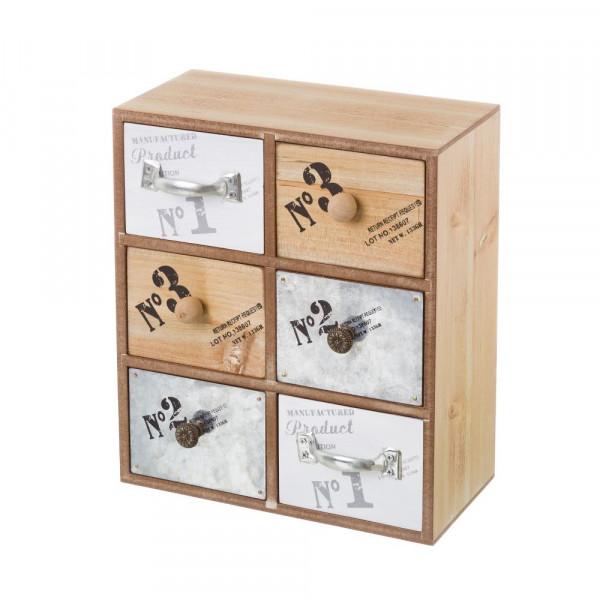 Mueble especiero de madera de 6 cajones beige industrial para cocina Factory
