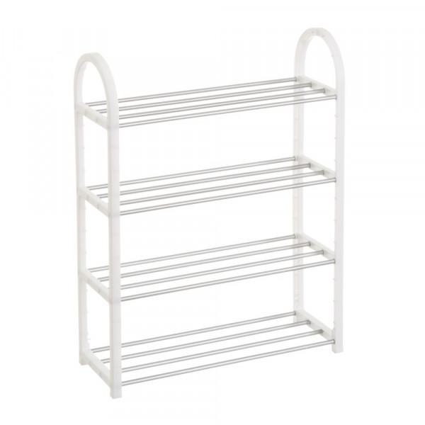 Mueble Zapatero De 4 Baldas De Plastico Blanco Moderno Para Dormitorio Basic