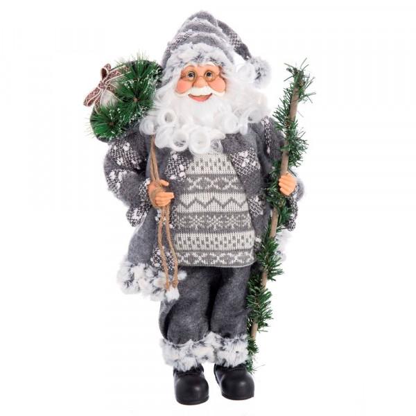 Imagenes De Papa Noel De Navidad.Papa Noel De Navidad Nordico Gris De Pvc Para Decoracion Navidena Christmas