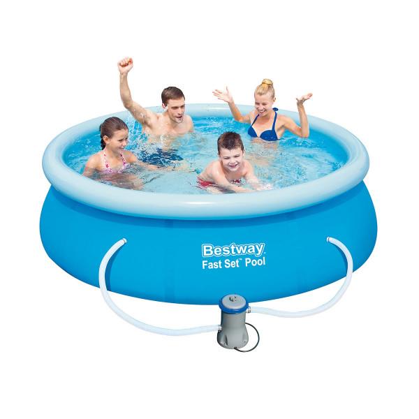 Piscina hinchable de autoportante de pvc azul lolahome for Depuradora para piscina hinchable