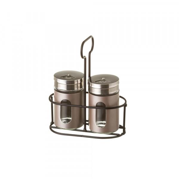 Salero de mesa moderno gris de acero inoxidable | LOLAhome