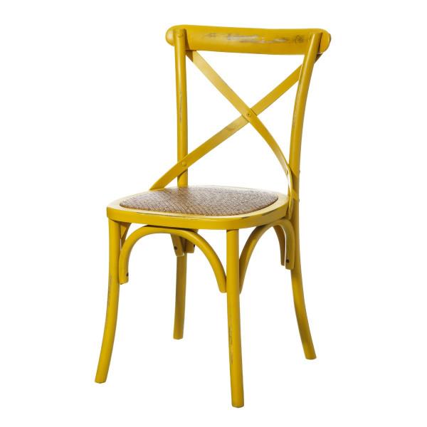 Silla de madera amarilla de comedor vintage para salón Iris