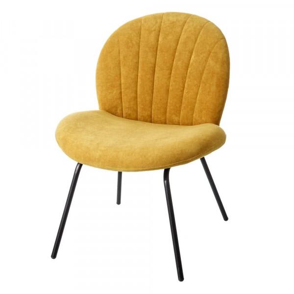 Silla de comedor vintage amarilla de terciopelo
