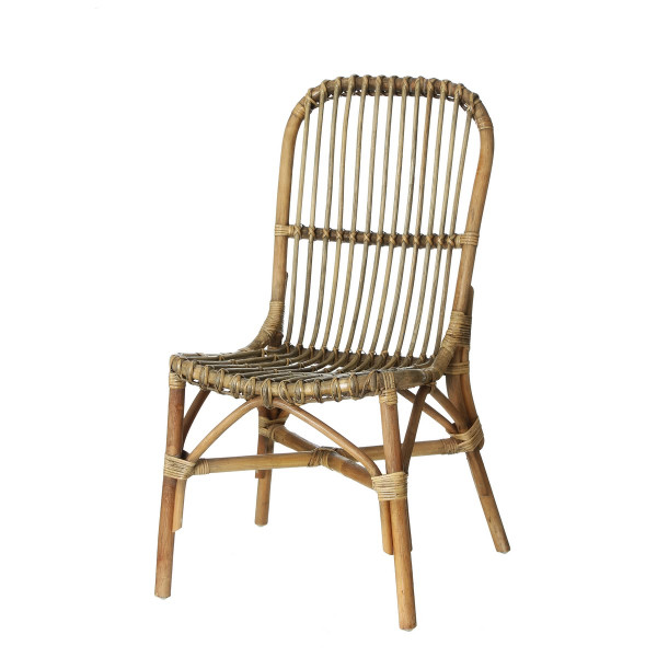 2 Dining Chairs Set Rattan Wicker Weave High Back Living Room Grey ...