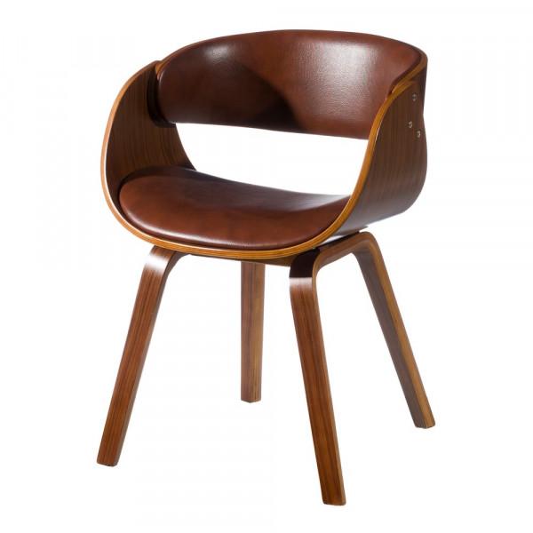 Silla de comedor tapizada en PU marrón moderna para salón Bretaña