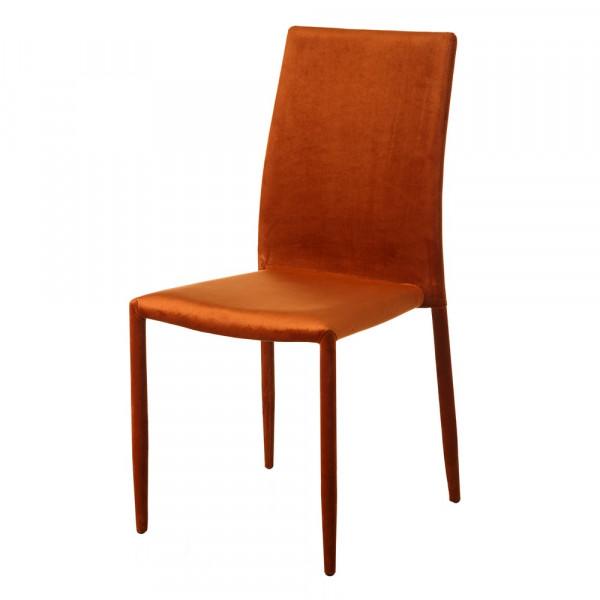 Silla de comedor tapizada en terciopelo naranja minimalista para salón Iris