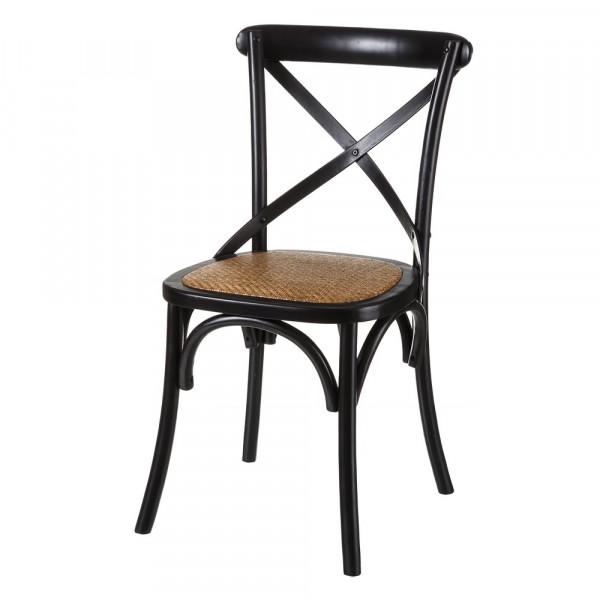 Silla de madera negra de comedor vintage para salón Factory