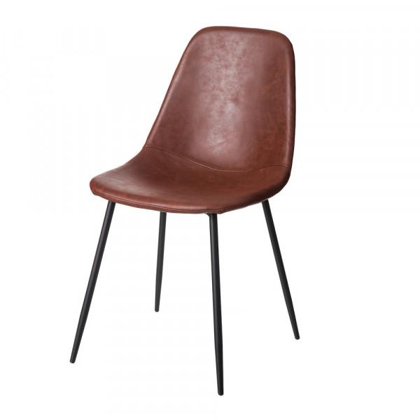 Silla de diseño industrial marrón de metal para comedor Bretaña