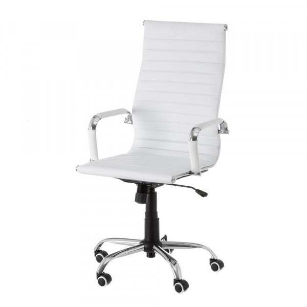 Silla de escritorio de metal tapizada blanca moderna para oficina Vitta