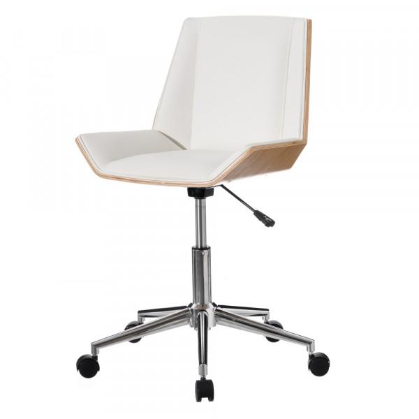 Silla oficina con ruedas y ergonómica, moderna blanca de polipiel, de  52x54x79 cm