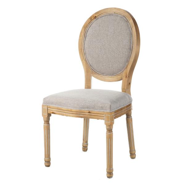 Silla tapizada de madera beige provenzal para comedor France