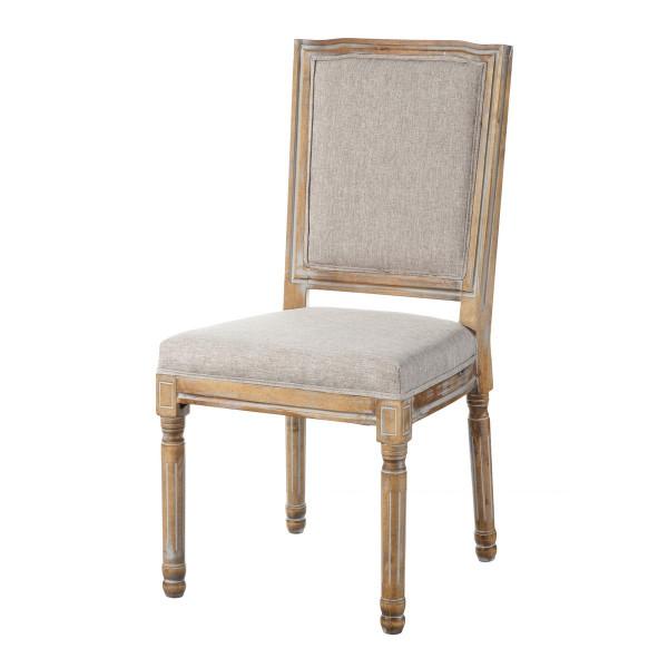 Silla de madera de abeto maciza beige con tapizado
