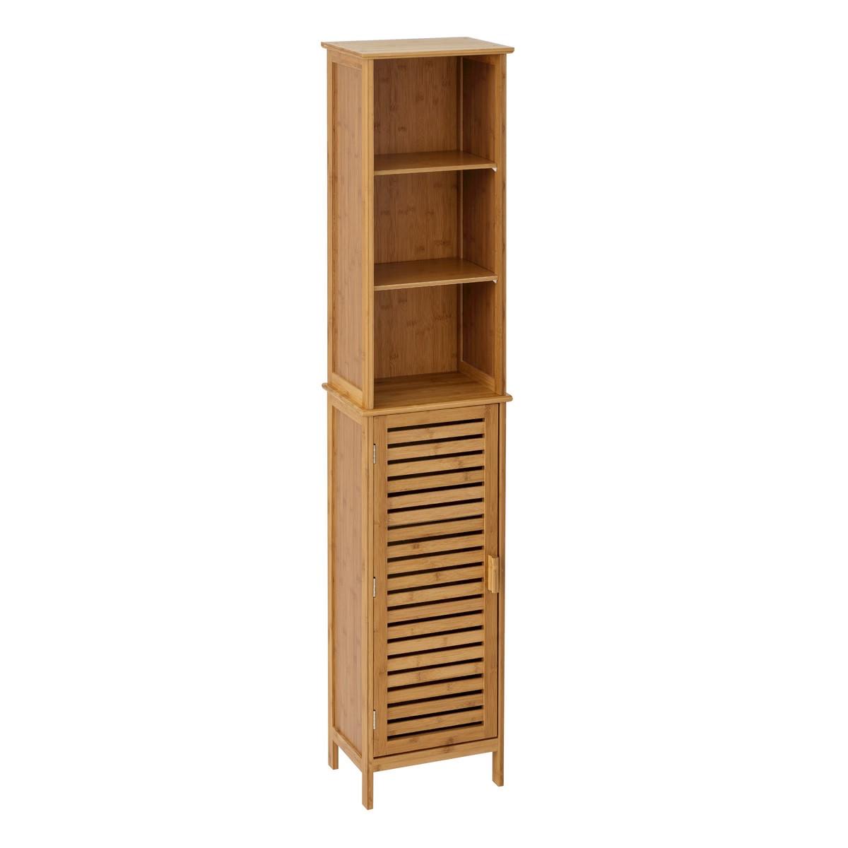 Armario de 1 puerta y 2 baldas nórdico marrón de bambú ...