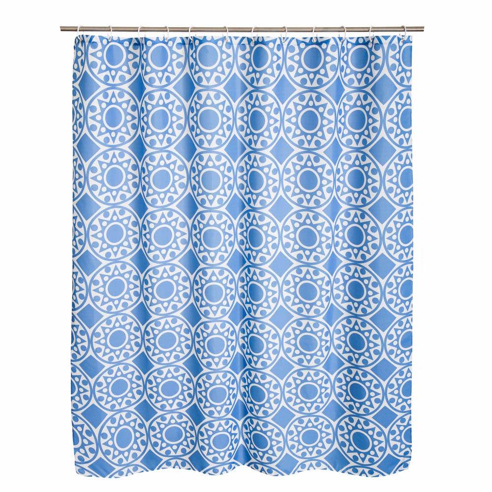 Cortina de ducha oriental azul de poliéster para cuarto de ...