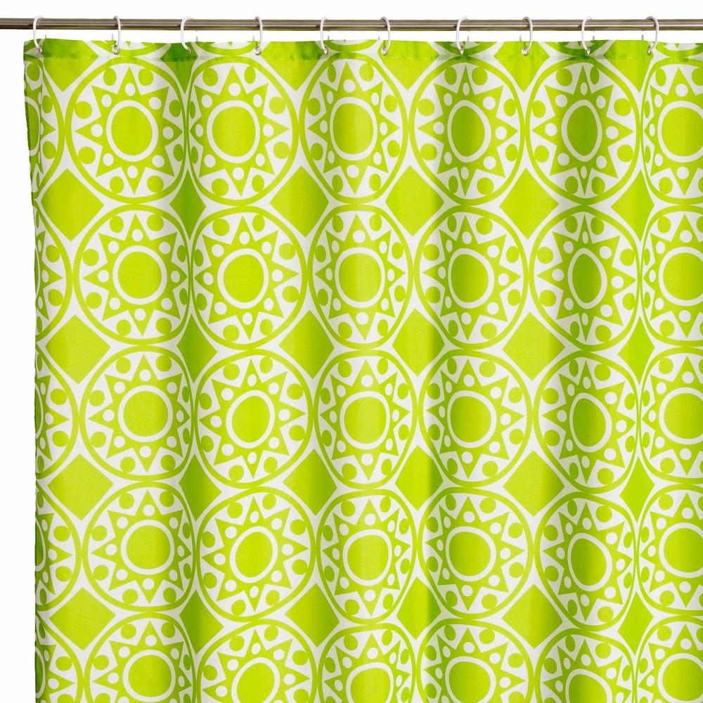 Cortina de ducha oriental verde de poliéster para cuarto ...