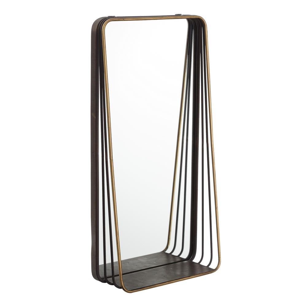 Estante con espejo de metal negro vintage para cuarto de ...