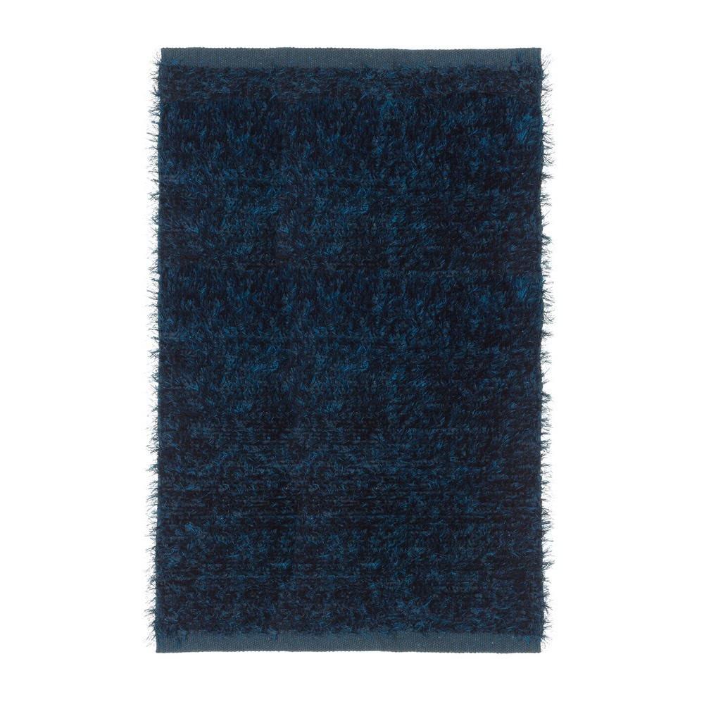 Alfombra de pelo moderno azul de microfibra | LOLA Home